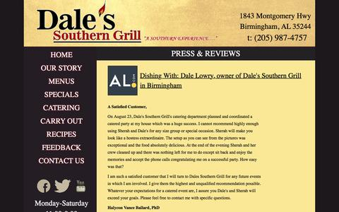 Screenshot of Press Page dalesgrill.com - Dale's Southern Grill, Southern Style Restaurants in Birmingham, Family Restaurants in Birmingham - captured Feb. 13, 2016