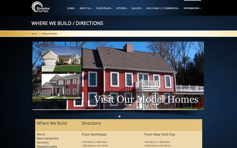 Screenshot of Maps & Directions Page simplexhomes.com - Simplex Homes :: Were We Build - captured June 13, 2017