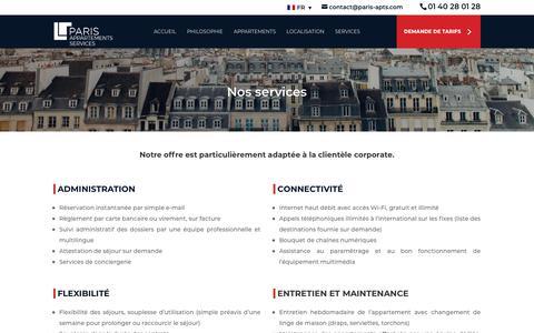 Screenshot of Services Page paris-appartements-services.com - Nos services | Paris Appartements Services - captured Nov. 4, 2018
