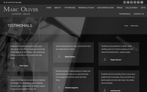 Screenshot of Testimonials Page marcoliver.com - Testimonials – Marc Oliver - captured Oct. 16, 2018