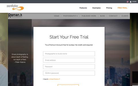 Screenshot of Trial Page zenfolio.com - Start Your Free Trial - Zenfolio - captured Oct. 10, 2014