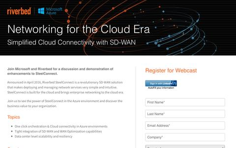 Screenshot of Landing Page riverbed.com - Networking for the Cloud Era - SD-WAN & Azure   Riverbed - captured May 25, 2017