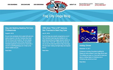 Screenshot of Blog fogcitydogs.com - News, Events and Information | Fog City Dogs - captured Aug. 18, 2018