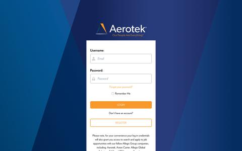 Screenshot of Login Page aerotek.com - Aerotek Login Page - captured Feb. 18, 2020