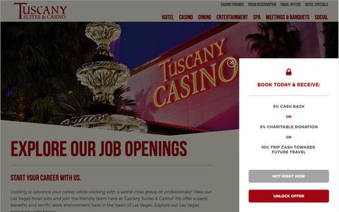 Screenshot of Jobs Page tuscanylv.com - Explore Our Job Openings | Tuscany Suites and Casino - captured Oct. 18, 2018