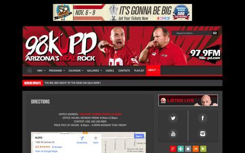 Screenshot of Maps & Directions Page 98kupd.com - Directions   The Big Red Radio - captured Sept. 24, 2014