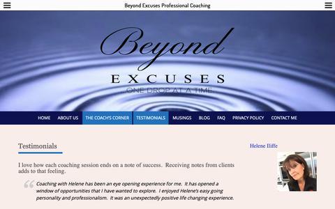Screenshot of Testimonials Page beyondexcuses.com - Testimonials – Beyond Excuses Professional Coaching - captured Nov. 13, 2018