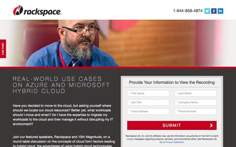 Screenshot of Landing Page rackspace.com - Rackspace | Real-World Use Cases on Azure and Microsoft Hybrid Cloud - captured Aug. 29, 2016