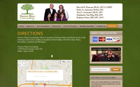 Screenshot of Maps & Directions Page prestonplacecounseling.com - Directions - Preston Place Counseling - Dallas, Texas | Preston Place Counseling - Dallas, Texas - captured Sept. 26, 2014