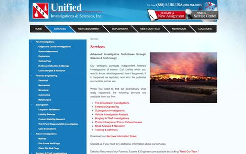 Screenshot of Services Page uis-usa.com - Services - captured Oct. 27, 2014