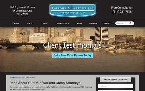 Screenshot of Testimonials Page larrimer.com - Client Testimonials for Columbus Workers Comp Attorneys - captured July 15, 2017