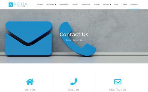 Screenshot of Contact Page aquaproperties.com - Contact Us - Aqua Properties - captured Aug. 18, 2019