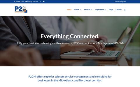 Screenshot of Home Page p2cm.com - P2 Communications Management - Everything Connected. - captured Jan. 22, 2016