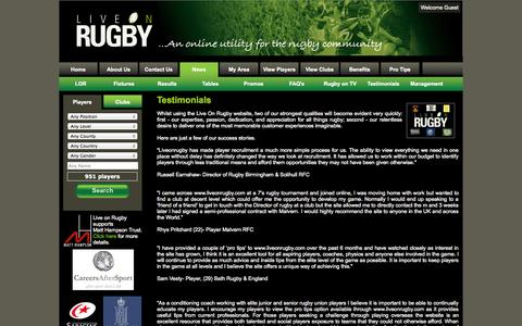 Screenshot of Testimonials Page liveonrugby.com - Live on Rugby - captured Oct. 6, 2014