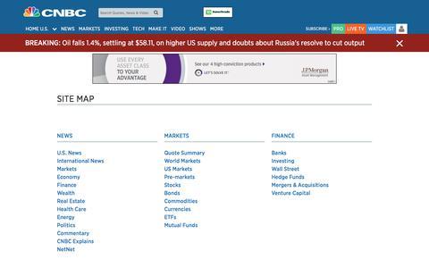 Screenshot of Site Map Page cnbc.com - Site Map - captured Nov. 27, 2017