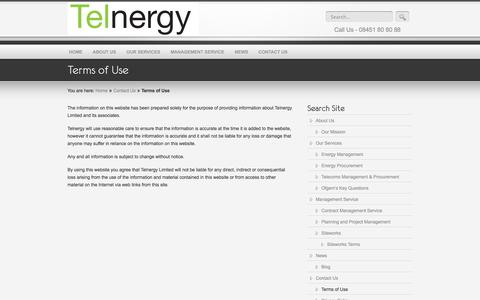 Screenshot of Terms Page telnergy.co.uk - Terms of Use «  Telnergy Limited, a trusted and experienced utility solutions provider - captured Oct. 26, 2014