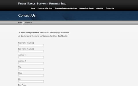 Screenshot of Contact Page frontrangesupportservices.com - Contact Us | Front Range Support Services - captured Sept. 30, 2014