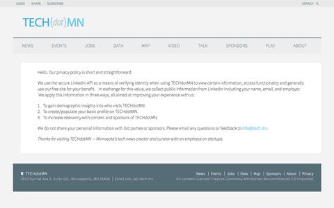 Screenshot of Privacy Page tech.mn - TECHdotMN Privacy Policy - TECHdotMN - captured Oct. 26, 2017