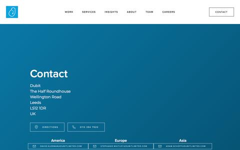Screenshot of Contact Page dubitlimited.com - Contact - captured Aug. 8, 2018