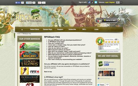 Screenshot of FAQ Page rpgstash.com - RPGStash FAQ - RPGStash - captured Oct. 3, 2014