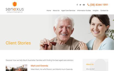 Screenshot of Case Studies Page senexus.com.au - Client Stories | Senexus | Leading you through aged care - captured Nov. 29, 2016