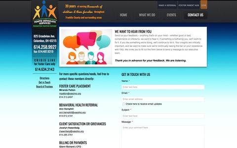 Screenshot of Privacy Page Contact Page yasohio.org - Contact YAS - captured Oct. 19, 2017