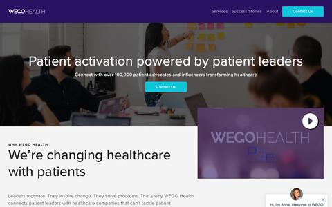 Screenshot of Services Page wegohealth.com - WEGO Health - captured Nov. 8, 2019