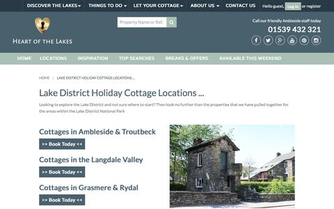 Screenshot of Locations Page heartofthelakes.co.uk - Lake District Holiday Cottage Locations with Heart of the Lakes | Heart of the Lakes - captured July 18, 2018