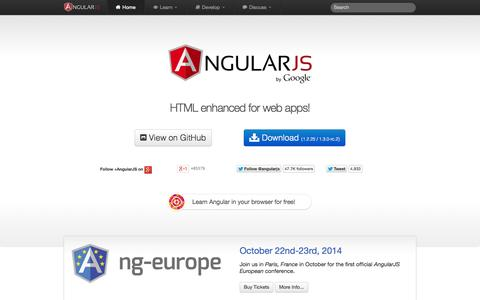 Screenshot of Home Page angularjs.org - AngularJS — Superheroic JavaScript MVW Framework - captured Sept. 18, 2014