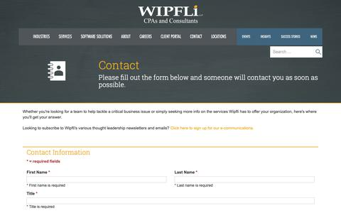 Screenshot of Contact Page wipfli.com - Contact - Wipfli - captured Nov. 4, 2018