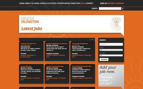 Screenshot of Jobs Page creativeislington.com - Jobs » Creative Islington - captured Oct. 28, 2014