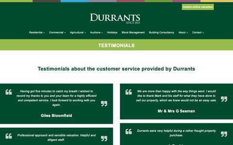 Screenshot of Testimonials Page durrants.com - Durrants | Testimonials - captured Dec. 14, 2018