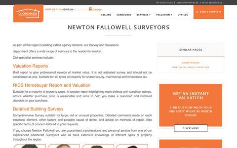 Screenshot of Services Page goodchilds-uk.com - Newton Fallowell Surveyors - captured Sept. 29, 2018