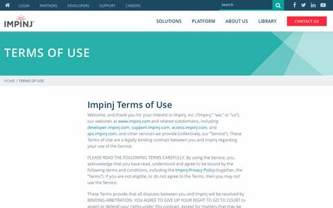 Screenshot of Terms Page impinj.com - Terms of Use | Impinj - captured May 2, 2017