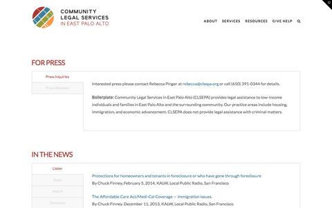 Screenshot of Press Page clsepa.org - Newsroom - Community Legal Services - captured Aug. 17, 2017