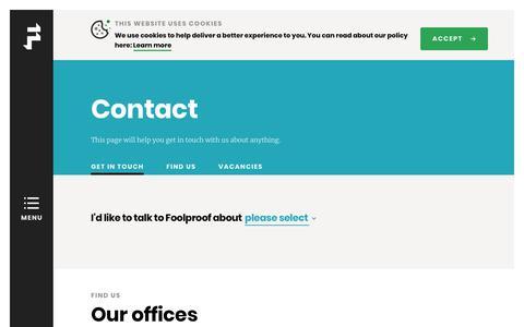 Screenshot of Contact Page foolproof.co.uk - Contact   Foolproof - captured Dec. 18, 2018