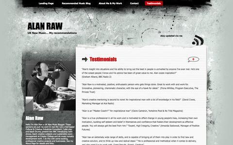 Screenshot of Testimonials Page wordpress.com - Testimonials | Alan Raw - captured Nov. 2, 2014