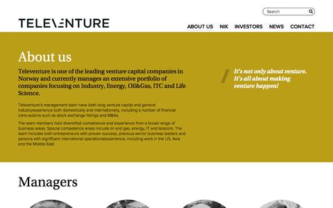 Screenshot of About Page televenture.no - About us - Televenture - captured Nov. 5, 2014