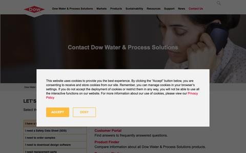 Screenshot of Contact Page dow.com - Contact Us   Dow Water & Process Solutions - captured Oct. 21, 2018
