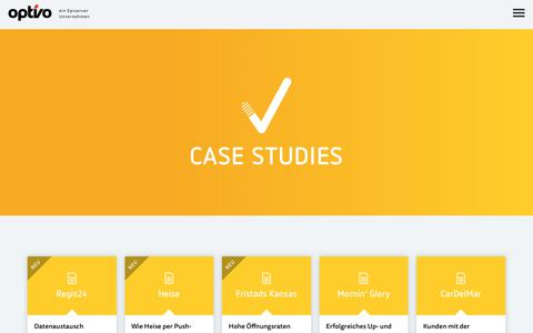 Screenshot of Case Studies Page optivo.com - Case Studies - optivo - captured June 22, 2017