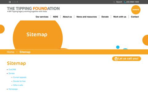 Screenshot of Site Map Page tipping.org.au - Sitemap | The Tipping Foundation - captured July 7, 2017