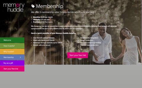 Screenshot of Pricing Page memoryhuddle.com - Memoryhuddle   Memory Huddle membership rates - captured Aug. 10, 2016
