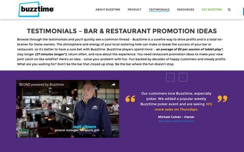 Screenshot of Developers Page buzztime.com - Our Clients | Restaurant Promotion Ideas | Testimonials | Buzztime - captured Nov. 12, 2016