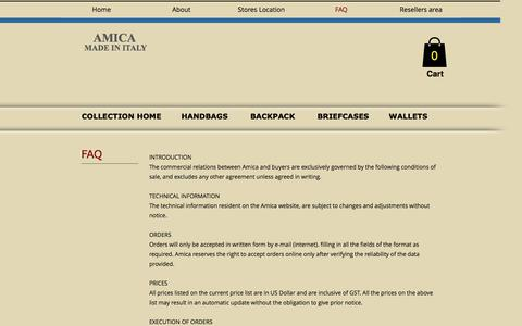 Screenshot of FAQ Page amicabay.com - LEATHER BAG, BAG, LEATHER WALLETS, LEATHER BRIEFCASE, LEATHER BACKPACK - captured July 8, 2018