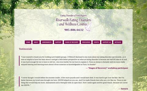 Screenshot of Testimonials Page edoyr.com - Testimonials — Eating Disorders Of York Region - captured Oct. 1, 2014