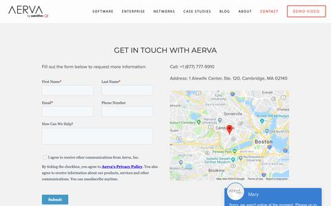 Screenshot of Contact Page aerva.com - Contact - captured Feb. 16, 2019
