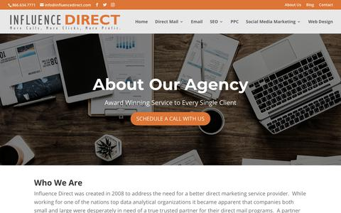Screenshot of About Page influencedirect.com - About Us | Influence Direct - captured Oct. 11, 2018