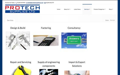 Screenshot of Services Page protechsupplies.co.uk - Protech Supplies Ltd, , Services - Protech Supplies Ltd - captured Oct. 3, 2014