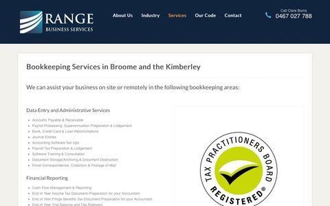 Screenshot of Services Page rangeservices.com.au - Bookkeeping Broome, Kimberley - Range Business Services - captured Feb. 13, 2016