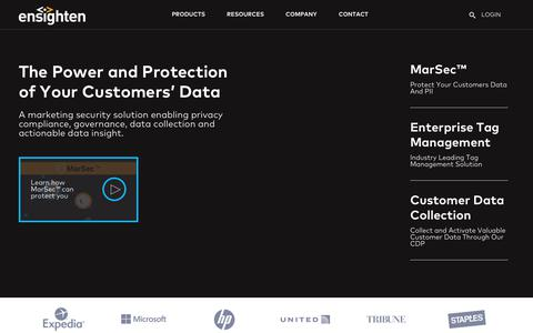 Screenshot of Home Page ensighten.com - Data Privacy and Omni-channel Data Management - captured Nov. 16, 2018